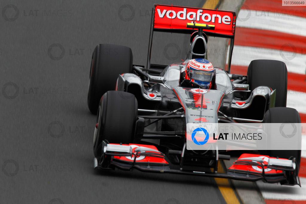 Albert Park, Melbourne, Australia 25th March 2011. Jenson Button, McLaren MP4-26 Mercedes. Action.  World Copyright: Andrew Ferraro/LAT Photographic ref: Digital Image _Q0C8097
