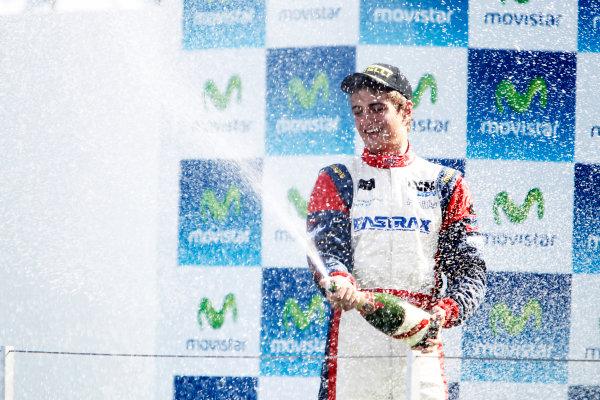 Round 3. Valencia, Spain. 27th June 2010.Sunday Race.Nico Muller, (Sui, Jenzer Motorsport) celebrates on the podium. Portrait.World Copyright: Glenn Dunbar/GP3 Media Service.Digital Image _G7C0797