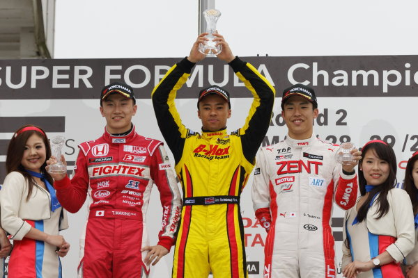 2016 Japanese Formula 3 Championship Okayama, Japan.  28th- 29th May 2016. Rd 5 & 6. Rd.5 Winner Jann Mardenborough ( #22 B-MAX NDDP F3 ) 2nd position Tadasuke Makino ( #12 TODA FIGHTEX ) 3rd position Sho Tsuboi ( #37 ZENT TOM'S F314 ) podium World Copyright: Yasushi Ishihara/LAT Photographic ref: Digital Image 2016JF3_Rd5&6_016