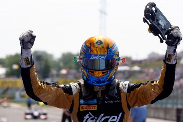 Hungaroring, Budapest, Hungary. 29th July 2012.Sunday Race.Esteban Gutierrez (MEX, Lotus GP) celebrates his victory. World Copyright: Alastair Staley/GP2 Media Serviceref: Digital Image _O9T4881.jpg