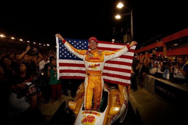 12-15  September 2012, Fontana, California, USAChampion Ryan Hunter-Reay celebrates with the American Flag(c) 2012, Michael L. LevittLAT Photo USA