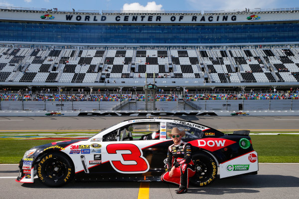 13-21 February, 2016, Daytona Beach, Florida USA   Austin Dillon, driver of the #3 DOW Chevrolet, poses with his car after qualifying for the NASCAR Sprint Cup Series Daytona 500 at Daytona International Speedway on February 14, 2016 in Daytona Beach, Florida.   LAT Photo USA via NASCAR via Getty Images