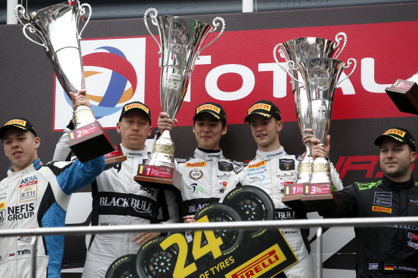Podium Silver: Winner #78 Barwell Motorsport Lamborghini Huracan GT3 2019: James Pull, Jordan Witt, Sandy Mitchell.