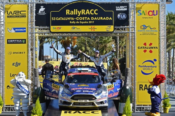 Teemu Suninen (FIN) / Mikko Markkula (FIN) M-Sport World Rally Team Ford Fiesta R5 WRC2 celebrates WRC2 victory on the podium at World Rally Championship, Rd11, RAAC Rally de Espana, Day Three, Costa Daurada, Catalunya, Spain, 8 October 2017.