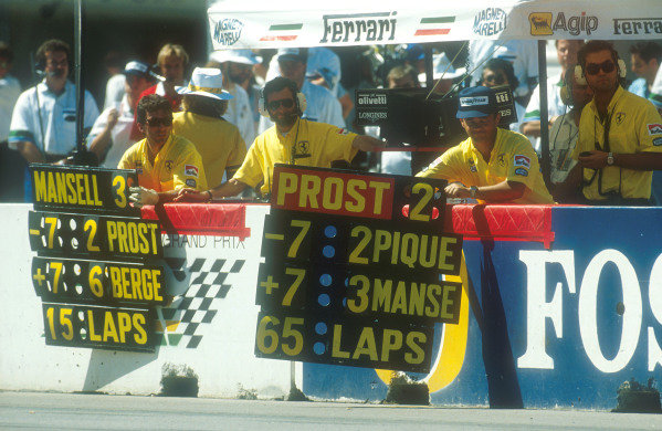 1990 Australian Grand Prix.Adelaide, Australia.2-4 November 1990.The Ferrari crew hang out the pit boards for their drivers Prost and Mansell.Ref-90 AUS 28.World Copyright - LAT Photographic