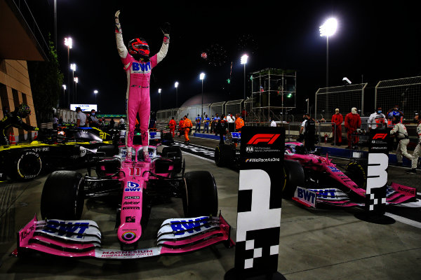 Sergio Perez, Racing Point, 1st position, celebrates on arrival in Parc Ferme
