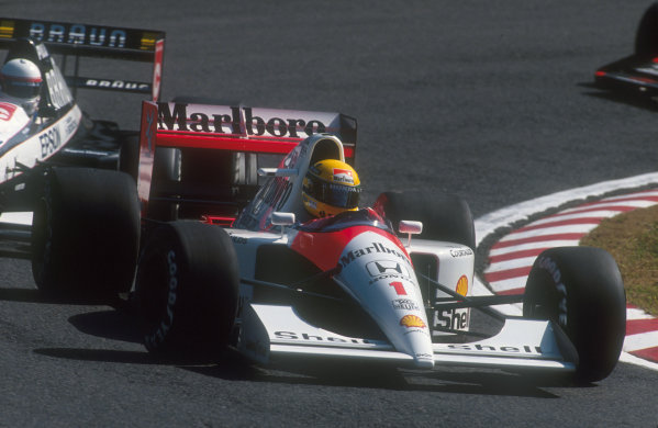 1991 Japanese Grand Prix.Suzuka, Japan.18-20 October 1991.Ayrton Senna (McLaren MP4/6 Honda) 2nd position. He was leading until the final corner, when he handed victory to Berger.Ref-91 JAP 10.World Copyright - LAT Photographic