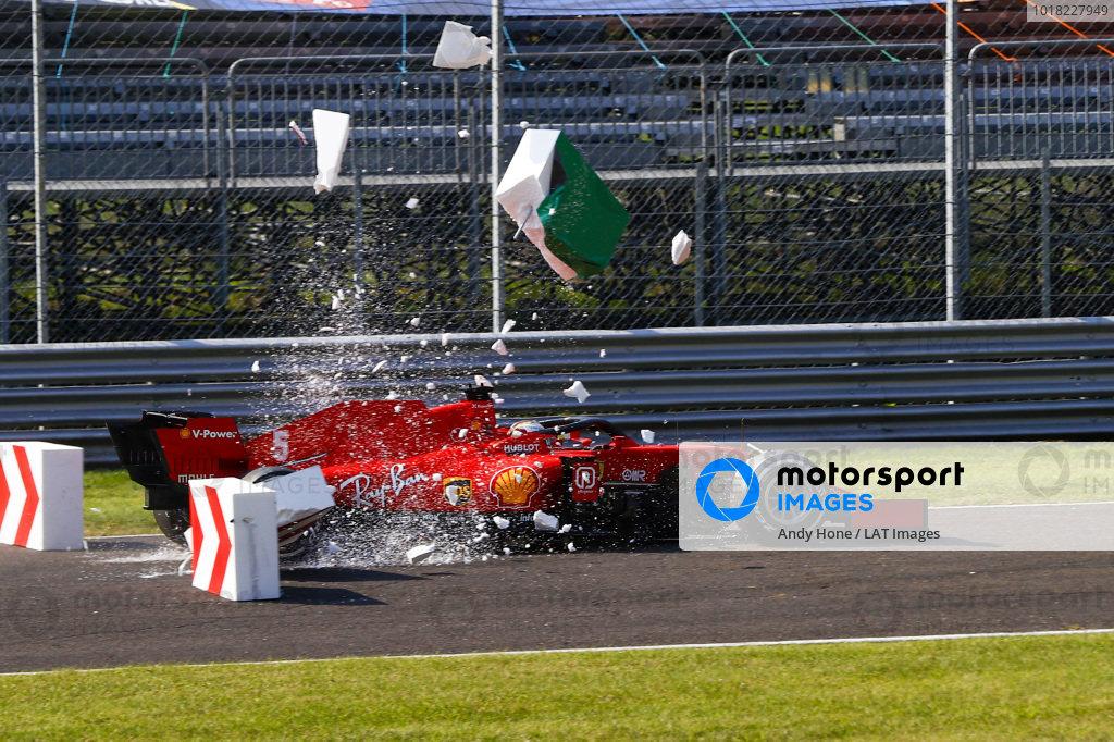 Sebastian Vettel, Ferrari SF1000, collides with barriers