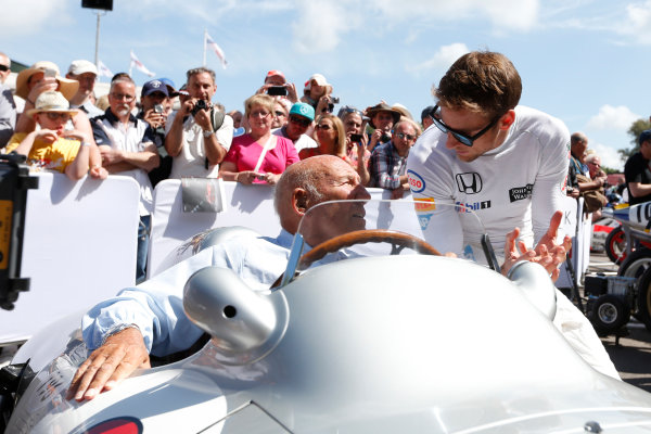 2015 Goodwood Festival of Speed Goodwood Estate, West Sussex, England. 25th - 28th June 2015. Jenson Button and Stirling Moss. World Copyright: Alastair Staley/LAT Photographic ref: Digital Image_79P0377