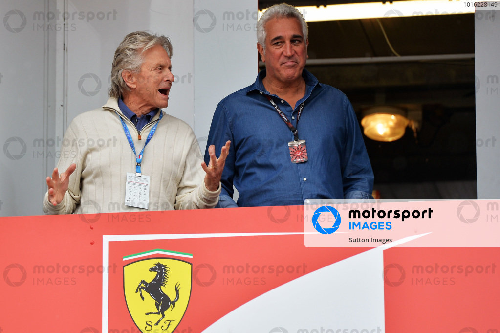 Michael Douglas (USA) Hollywood Actor and Lawrence Stroll (CDN) Mont Tremblant Race Circuit Owner. Formula One World Championship, Rd6, Monaco Grand Prix, Qualifying Day, Monte-Carlo, Monaco, Saturday 25 May 2013.