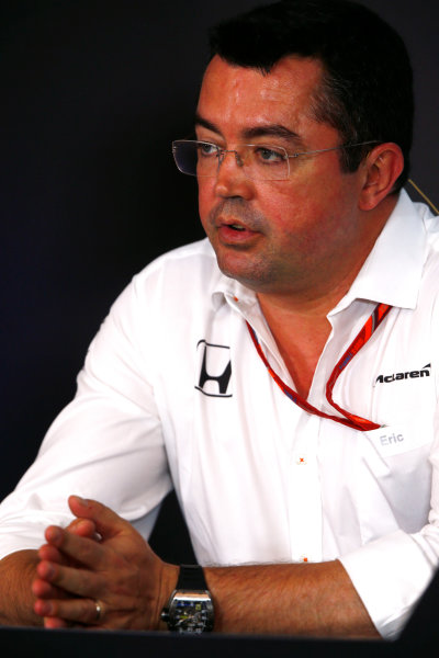 Red Bull Ring, Spielberg, Austria. Friday 07 July 2017. Eric Boullier, Racing Director, McLaren, in the team principals Press Conference. World Copyright: Andy Hone/LAT Images ref: Digital Image _ONY9956