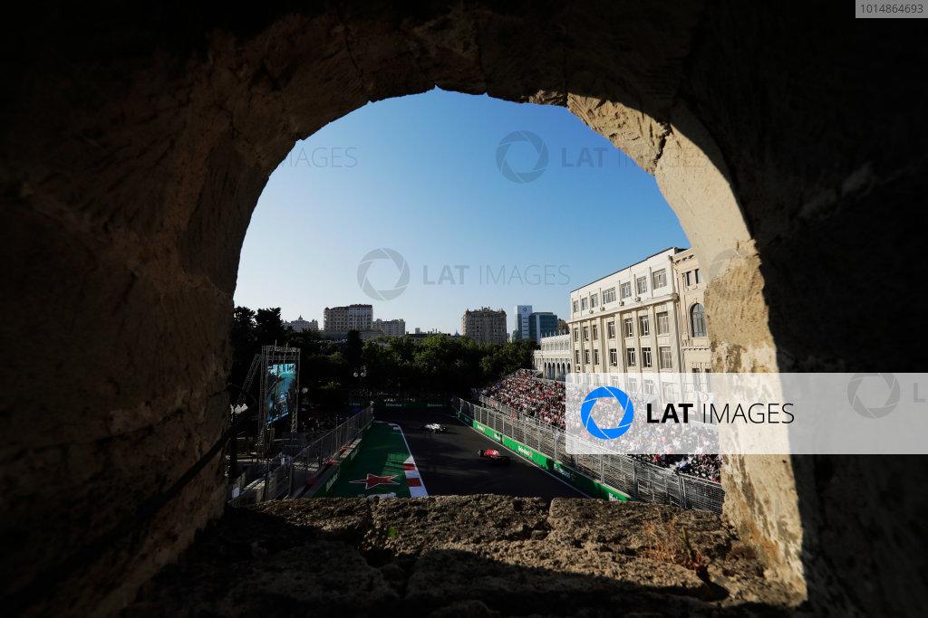 Baku City Circuit, Baku, Azerbaijan. Sunday 25 June 2017. Lewis Hamilton, Mercedes F1 W08 EQ Power+, leads Sebastian Vettel, Ferrari SF70H.  World Copyright: Zak Mauger/LAT Images ref: Digital Image _54I4837