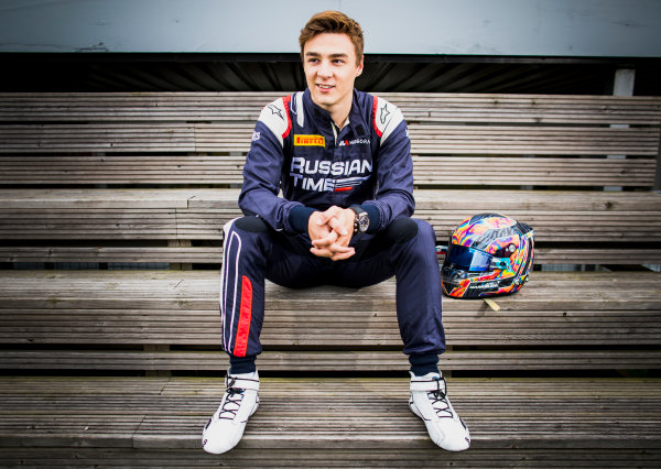 2017 FIA Formula 2 Round 6. Silverstone, Northamptonshire, UK. Thursday 13 July 2017. Artem Markelov (RUS, RUSSIAN TIME).  Photo: Zak Mauger/FIA Formula 2. ref: Digital Image _56I6303