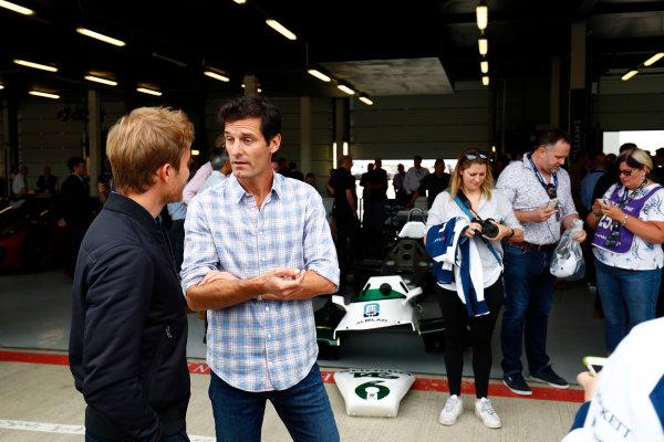 Williams 40 Event Silverstone, Northants, UK Friday 2 June 2017. Mark Webber talks to Nico Rosberg. World Copyright: Sam Bloxham/LAT Images ref: Digital Image _W6I6364