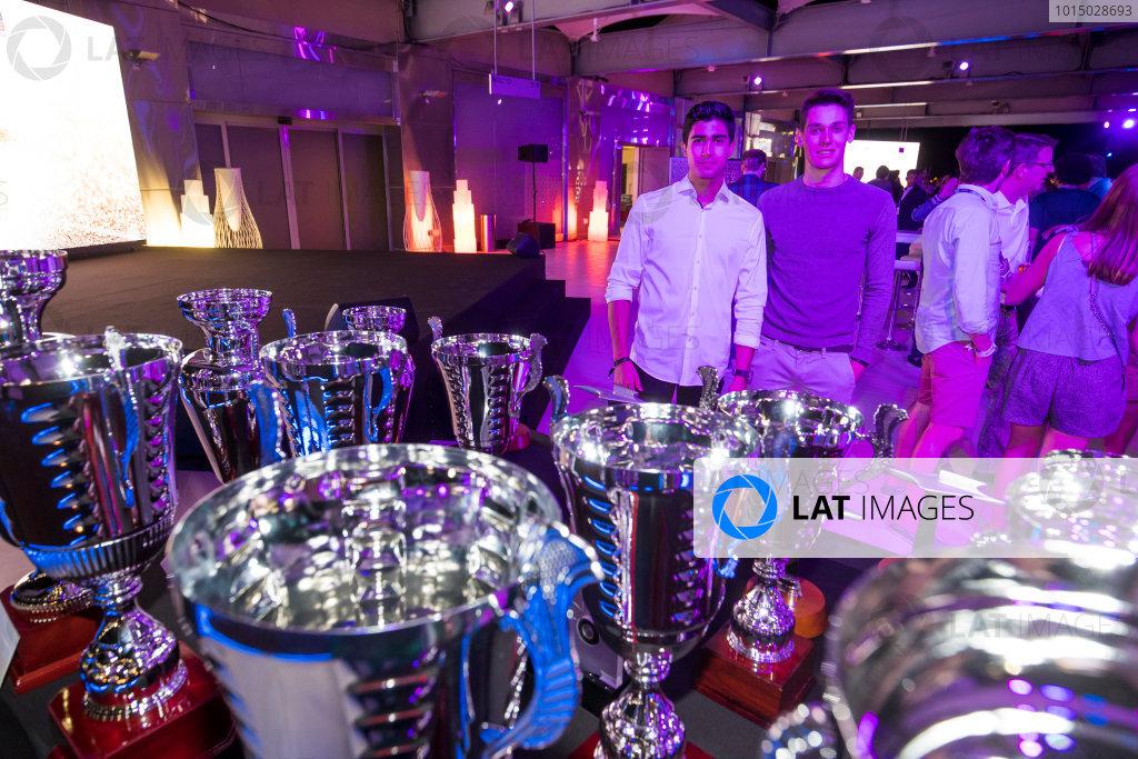 2017 Awards Evening. Yas Marina Circuit, Abu Dhabi, United Arab Emirates. Sunday 26 November 2017. Juan Manuel Correa (USA, Jenzer Motorsport). & Alessio Lorandi (ITA, Jenzer Motorsport).  Photo: Sam Bloxham/FIA Formula 2/GP3 Series. ref: Digital Image _W6I4458