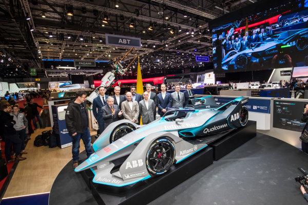 2017/2018 FIA Formula E Championship. Geneva Motor Show Tuesday 6 March 2018. The FIA Formula-E Gen2 car is unveiled. Photo: Sam Bloxham/LAT/Formula E ref: Digital Image _W6I3839