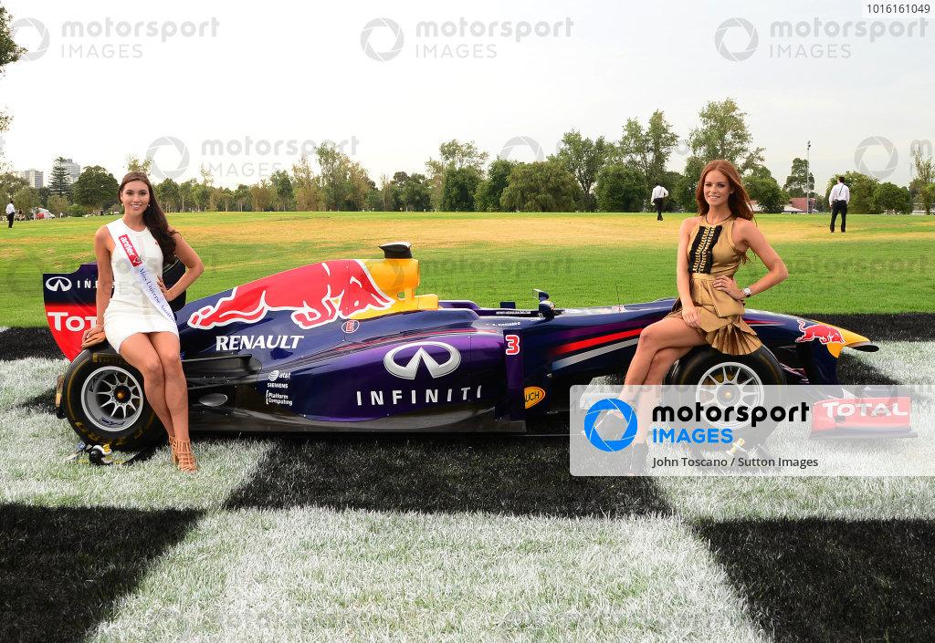 (L to R): Miss Universe Australia Olivia Wells (AUS) and Georgia Geminder (AUS) 2014 Australian Grand Prix Ambassador. 2014 Formula 1 Rolex Australian Grand Prix Media Launch, Carousel, Albert Park, Melbourne, Australia, 3 February 2014.
