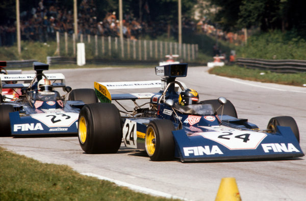 1973 Italian Grand Prix.  Monza, Italy. 7-9th September 1973.  Carlos Pace, Surtees TS14A Ford, leads Mike Hailwood, Surtees TS14A Ford.  Ref: 73ITA45. World Copyright: LAT Photographic