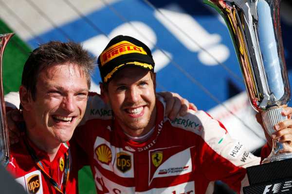 Hungaroring, Budapest, Hungary. Sunday 26 July 2015. Sebastian Vettel, Ferrari, 1st Position, and James Allison, Technical Director, Ferrari, celebrate with the trophies on the podium. World Copyright: Alastair Staley/LAT Photographic ref: Digital Image _79P0967