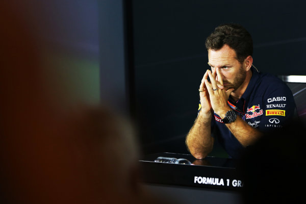 Autodromo Nazionale di Monza, Monza, Italy. Friday 4 September 2015. Christian Horner, Team Principal, Red Bull Racing, in the Team Principals Press Conference. World Copyright: Jed Leicester/LAT Photographic ref: Digital Image JL2_8006