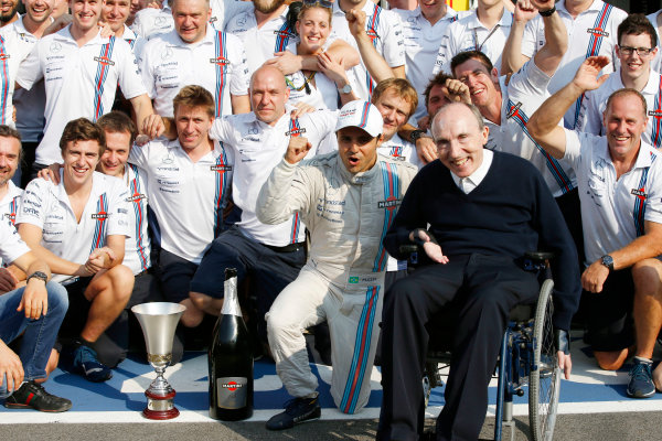 Autodromo Nazionale di Monza, Monza, Italy. Sunday 7 September 2014. Felipe Massa, Williams F1, 3rd Position, Sir Frank Williams, Team Principal, Williams F1, and the Williams team celebrate. World Copyright: Glenn Dunbar/LAT Photographic. ref: Digital Image _89P0475