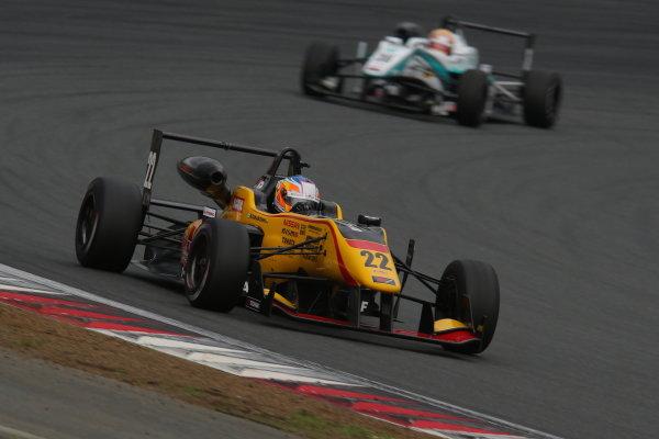 2014 All-Japan F3 Championship. Fuji, Japan. 11th - 13th July 2014. Rd 4. Race 1 - Winner Mitsunori Takaboshi ( #22 B-MAX Racing Team with NDDP ) action. World Copyright: Yasushi Ishihara / LAT Photographic. Ref: 2014JF3_Rd8&9_004.JPG