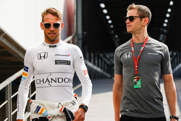 Monte Carlo, Monaco. Thursday 25 May 2017. Jenson Button, McLaren, with trainer Mike Collier. World Copyright: Andy Hone/LAT Images ref: Digital Image _ONZ8562