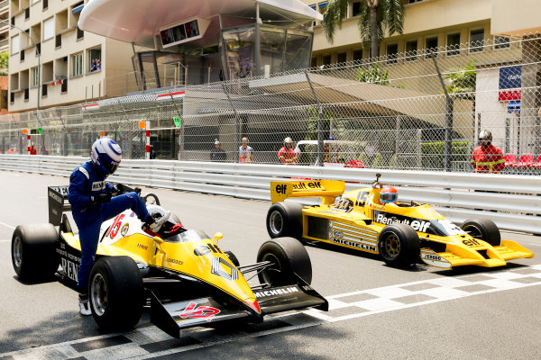Monte Carlo, Monaco. Friday 26 May 2017. Alain Prost, Renault RE40, and Jean-Pierre Jabouille, Renault RS01. World Copyright: Charles Coates/LAT Images ref: Digital Image AN7T3412A