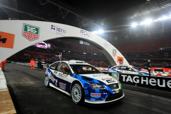 Wembley Stadium, London.  14th December 2008. Mattias Ekstrom v Andy Priaulx in Ford Focus WRC 08 race start. Action. World Copyright: Jed Leicester/LAT Photographic ref: Digital Image JED_0565