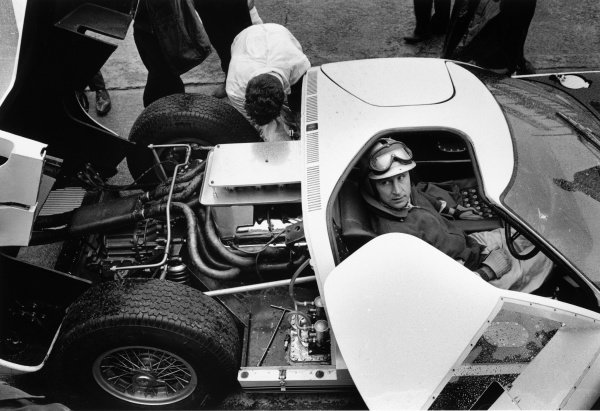 Le Mans, France. 18th - 19th April 1964.Roy Salvadori, (Ford GT40), 19th fastest, sits in the car in the pits, portrait.World Copyright: LAT Photographic.Ref: L64 - 85 - 21A.