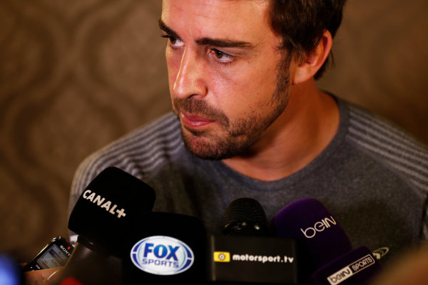 Bahrain International Circuit, Sakhir, Bahrain.  Wednesday 12 April 2017. Fernando Alonso talks to the media after announcing his deal to race in the 2017 Indianapolis 500 in an Andretti Autosport run McLaren Honda car. World Copyright: Glenn Dunbar/LAT Images ref: Digital Image _31I6970