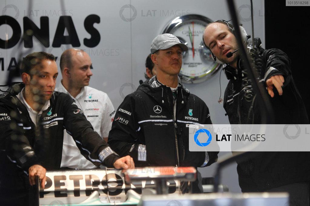 Suzuka Circuit, Suzuka, Japan. 9th October 2010. Michael Schumacher, Mercedes GP W01. Portrait.  World Copyright: Andrew Ferraro/LAT Photographic ref: Digital Image _Q0C8984