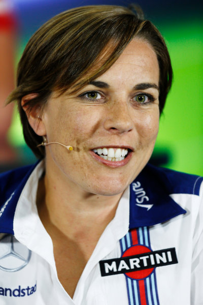 Silverstone Circuit, Northamptonshire, England. Friday 3 July 2015. Claire Williams, Deputy Team Principal, Williams F1, in the Team Principals Press Conference. World Copyright: Andrew Ferraro/LAT Photographic ref: Digital Image _FER1989
