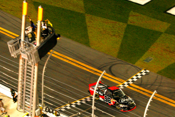 21-22 February, 2013, Daytona Beach, Florida USA Johnny Sauter checkered flag.(c)2013, Russell LaBounty LAT Photo USA .