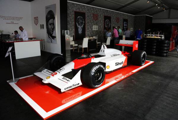 2015 Goodwood Festival of Speed.  Goodwood Estate, West Sussex, England. 25th - 28th June 2015.  McLaren MP4/4 on display on the Tag Heuer stand.  Ref: KW5_3536a. World copyright: Kevin Wood/LAT Photographic
