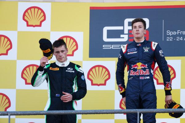 2014 GP3 Series Round 6. Spa-Francorchamps, Spa, Belgium. Sunday 24 August 2014. Richie Stanaway (NZL, Status Grand Prix) & Alex Lynn (GBR, Carlin)  Photo: Sam Bloxham/GP3 Series Media Service. ref: Digital Image _SBL7065