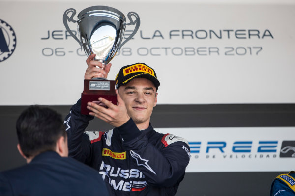 2017 FIA Formula 2 Round 10. Circuito de Jerez, Jerez, Spain. Sunday 8 October 2017. Artem Markelov (RUS, RUSSIAN TIME) on the podium. Photo: Andrew Ferraro/FIA Formula 2. ref: Digital Image _FER3695