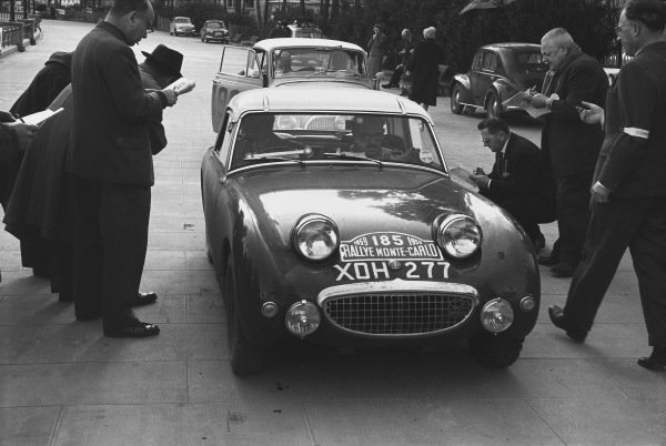 1959 Monte Carlo Rally. Monte Carlo Monaco. 16th - 25th January 1959. Tommy Wisdom / Douglas Johns (Austin-Healey Sprite), 5th in Class, 63rd overall. World Copyright: LAT Photographic.  Ref:  8148A - 26.