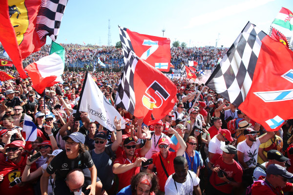 Hungaroring, Budapest, Hungary.  Sunday 30 July 2017. Fans celebrate after the race. World Copyright: Charles Coates}/LAT Images  ref: Digital Image AN7T9656