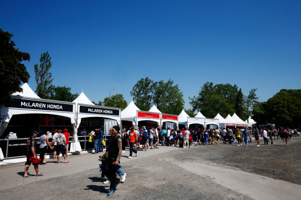 Circuit Gilles Villeneuve, Montreal, Canada. Sunday 11 June 2017. Merchandise stands in the F1 fan village. World Copyright: Andy Hone/LAT Images ref: Digital Image _ONZ4731