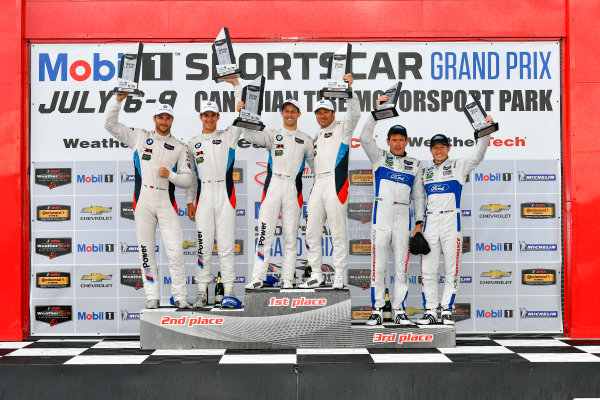 IMSA WeatherTech SportsCar Championship Mobil 1 SportsCar Grand Prix Canadian Tire Motorsport Park Bowmanville, ON CAN Sunday 9 July 2017 25, BMW, BMW M6, GTLM, Bill Auberlen, Alexander Sims, 24, John Edwards, Martin Tomczyk, 67, Ford, Ford GT, Ryan Briscoe, Richard Westbrook, celebrates, win, winners, victory lane, podium World Copyright: Scott R LePage/LAT Images