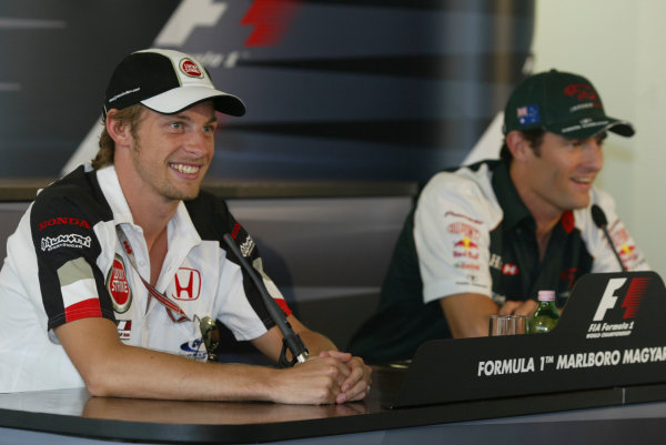 2004 Hungarian Grand Prix - Thursday,Hungaroring, Hungary.12th August 2004.Jenson Button, BAR Honda 006 and Mark Webber, Jaguar R5, press conference.World Copyright LAT Photographic.Digital Image only (a high res version is available on request).