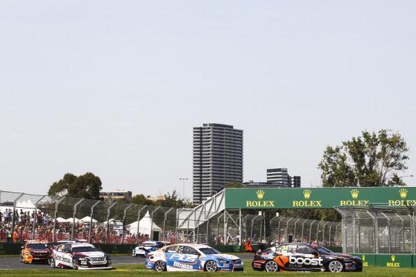 James Golding, Garry Rodgers Motorsport, Holden, leads Andre Heimgartner, Kelly Racing, Nissan