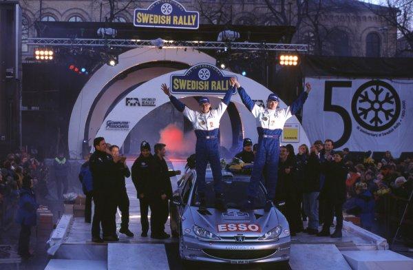 Marcus Gronholm and Timo Rautuaunen, Peugeot 206 WRC. WinnersSwedish Rally, Sweden 10-13/2/2000World - McKlein/LAT PhotographicRef: 2K WRC 13