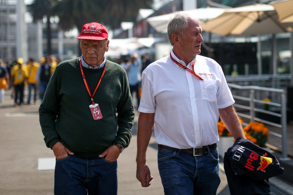 Niki Lauda (AUT) Mercedes AMG F1 Non-Executive Chairman and Dr Helmut Marko (AUT) Red Bull Motorsport Consultant at Formula One World Championship, Rd18, Mexican Grand Prix, Race, Circuit Hermanos Rodriguez, Mexico City, Mexico, Sunday 29 October 2017.