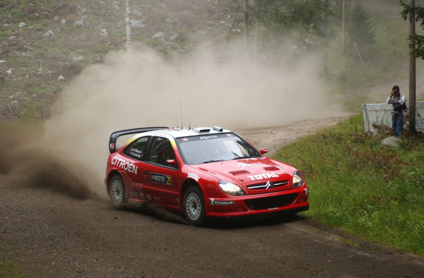 2002 World Rally Championship.Neste Rally Finland, Jyvaskyla Finland, August 8-11th.Sebastien Loeb during shakedown.Photo: Ralph Hardwick/LAT