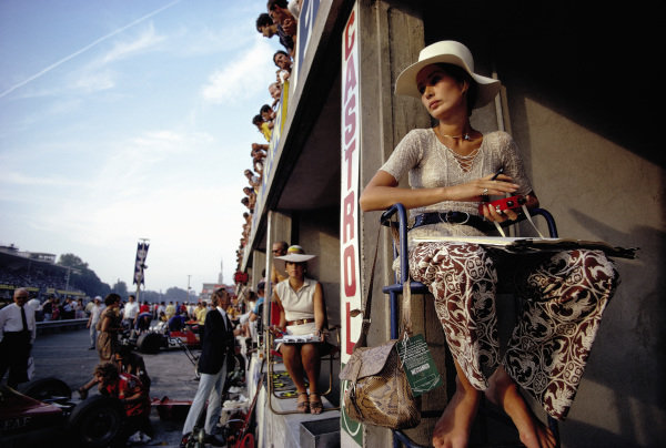Nina Rindt, timekeeping in the pits during the practice session in which her husband, Jochen, was killed in an accident.