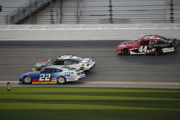 #22: Austin Cindric, Team Penske, Ford Mustang PPG, #99: Andy Lally, B.J. McLeod Motorsports, Chevrolet Camaro, #44: Tommy Joe Martins, Martins Motorsports, Chevrolet Camaro Gilreath Farms Red Angus