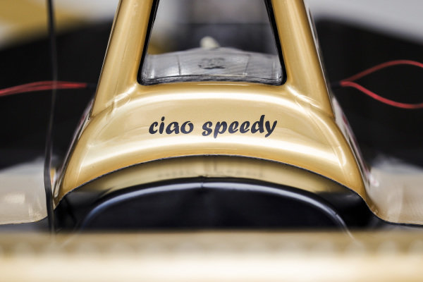 Antonio Felix da Costa (PRT), DS Techeetah, applies a 'Ciao Speedy' sticker to his car in memory of motorcyclist Paulo Goncalves, who tragically died after an accident at the Dakar Rally 2020