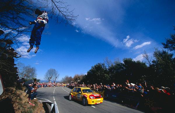 2002 World Rally ChampionshipRally Catalunya, Spain. 21st - 24th March 2002.Daniel Sola/Romani, winner of the JWRC round, Citroen Saxo VTS, action.World Copyright: McKlein/LAT Photographic.ref: 35mm Image 02 WRC 04
